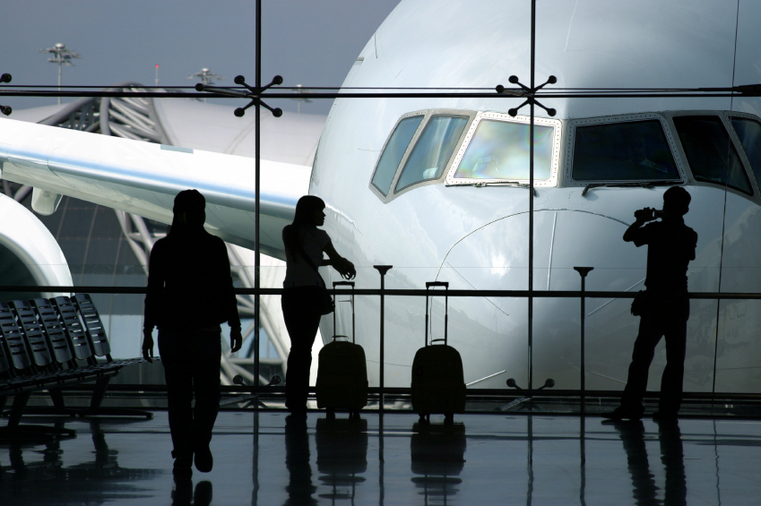 30 something travelers at the airport
