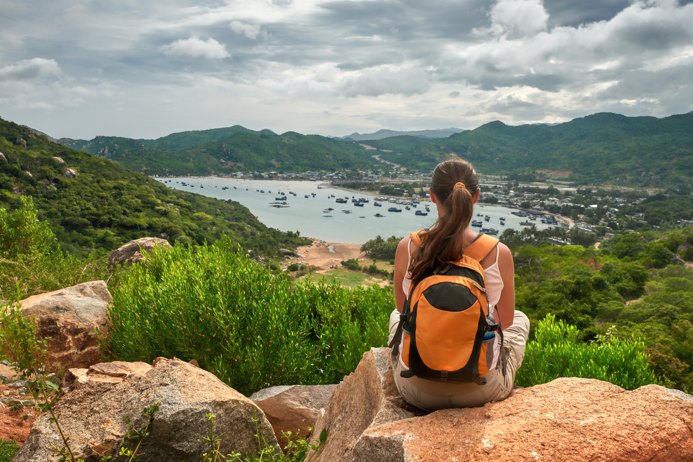 Woman hiking during her travels