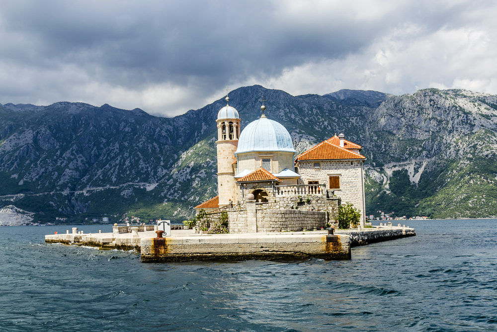 Our Lady of the Rock Island and Church Kotor Bay, Montenegro.