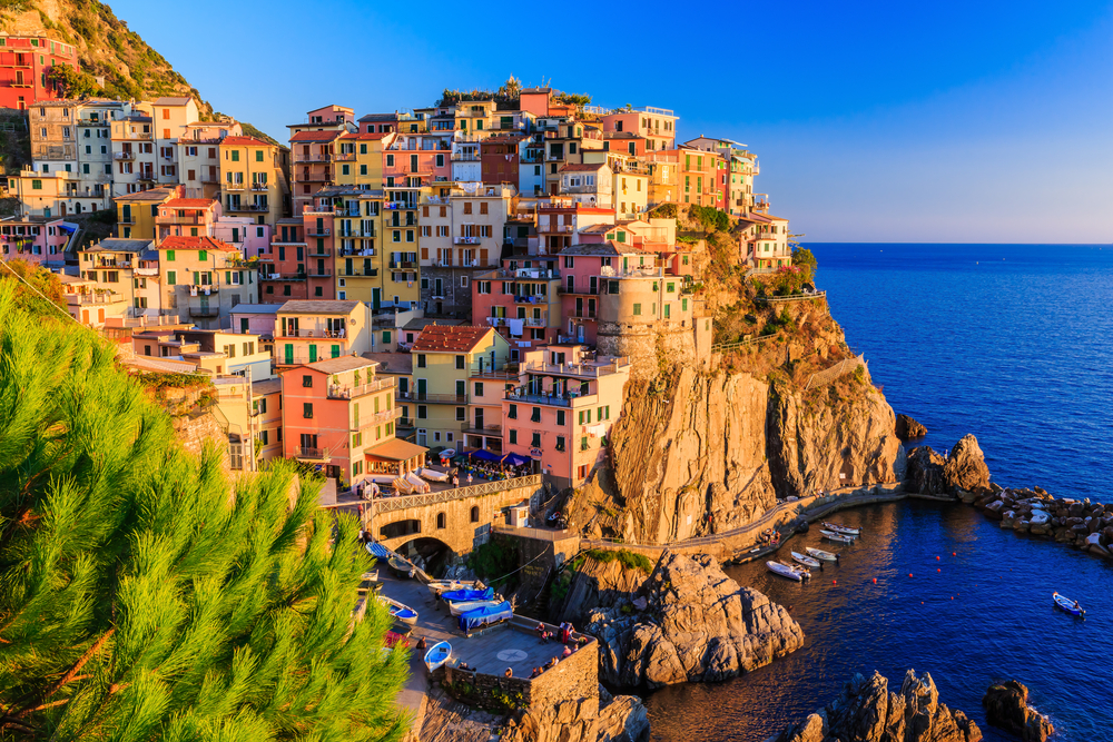 Beautiful views of the multi-colored houses in Cinque Terre, Italy