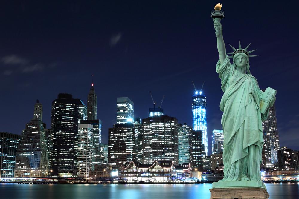 New York Skyline at night.