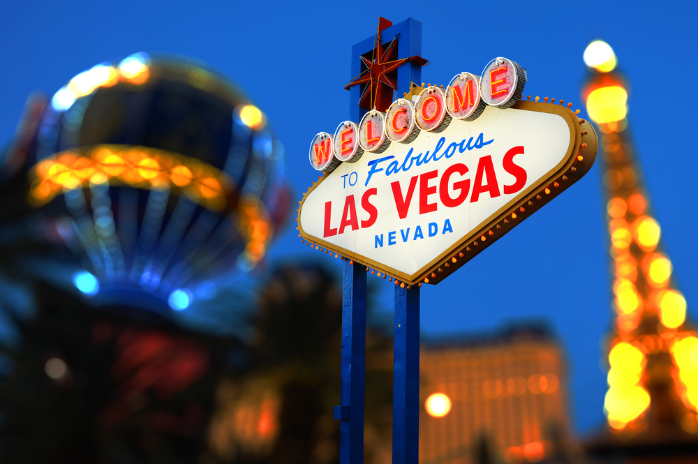 The iconic Welcome to Las Vegas sign in Las Vegas, USA.