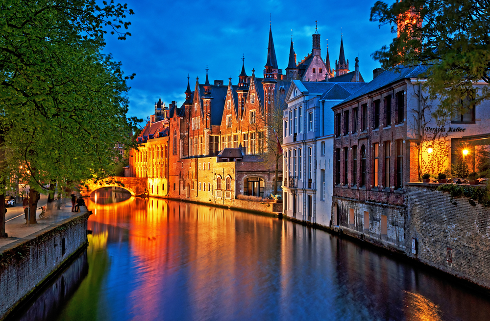 Historic buildings along a canal in Bruges, Belgium