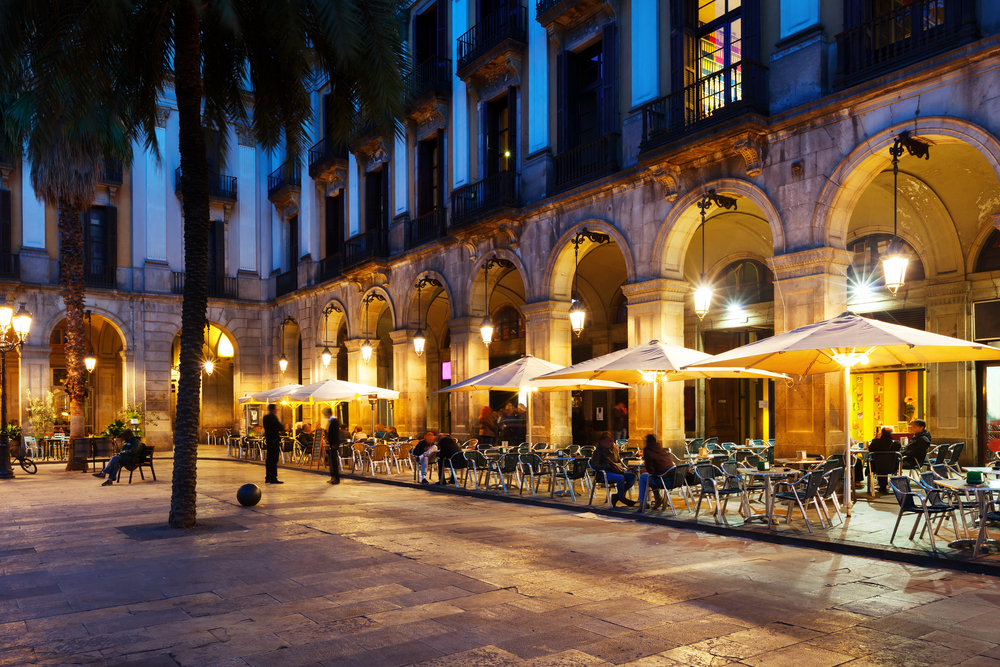 Outdoor cafes in Barcelona.