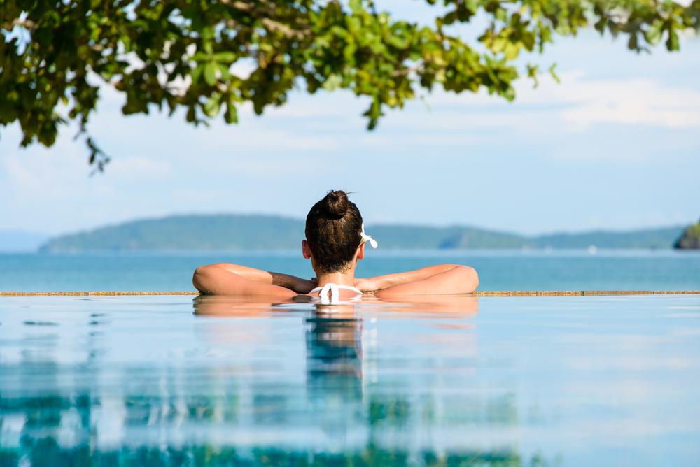 Woman in a swimming pool.