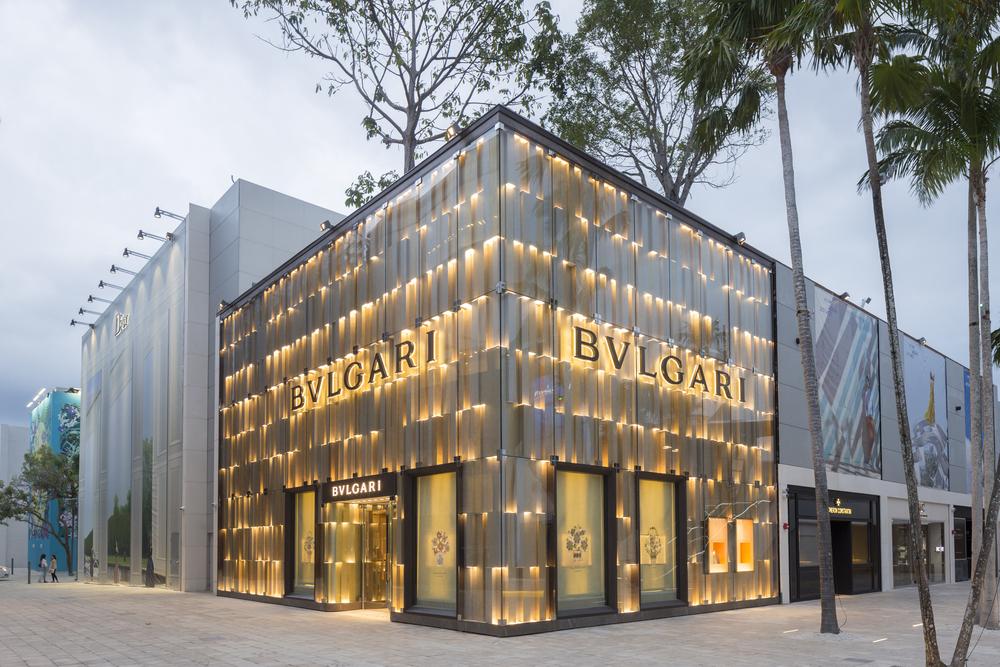Gold Bulgari Store in Miami.