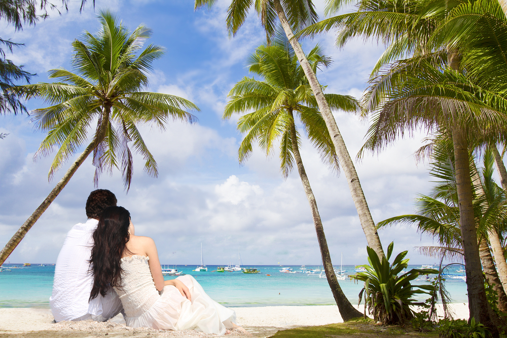 Couple in a tropical destination
