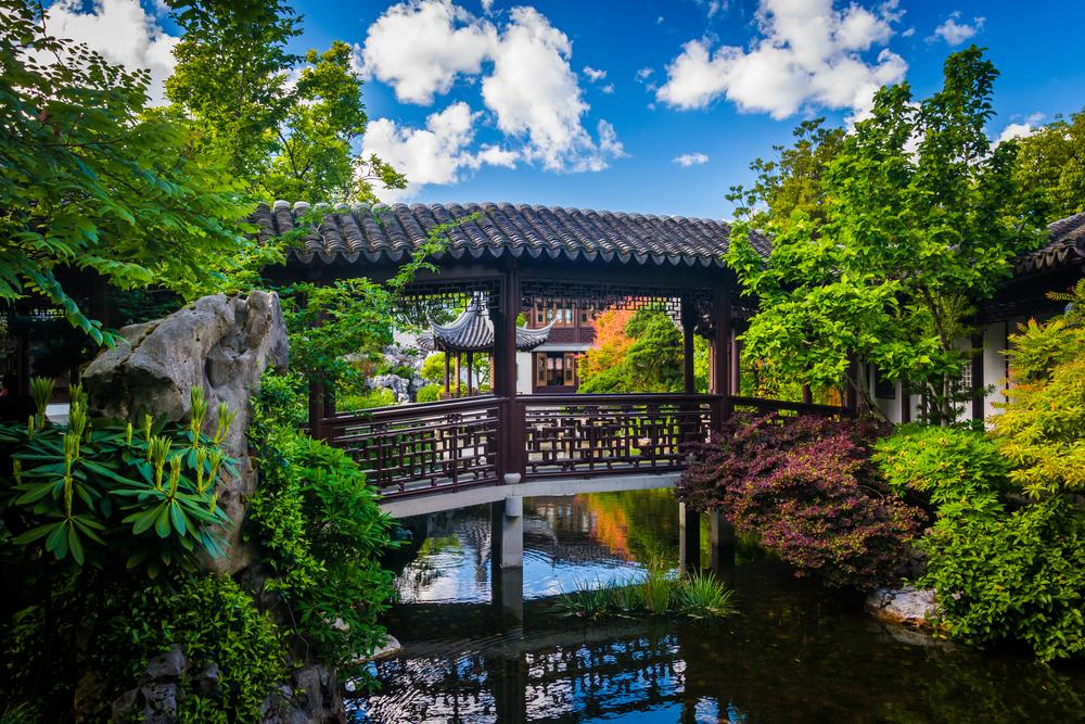 bridge at The Lan Su Chinese Garden