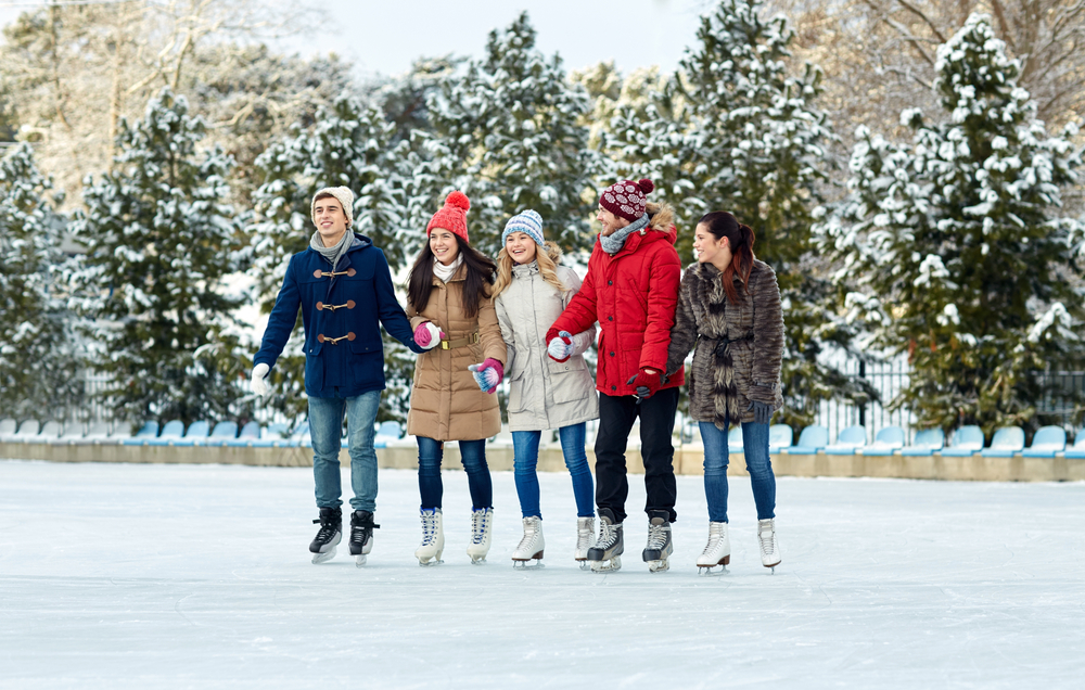 Friends skating
