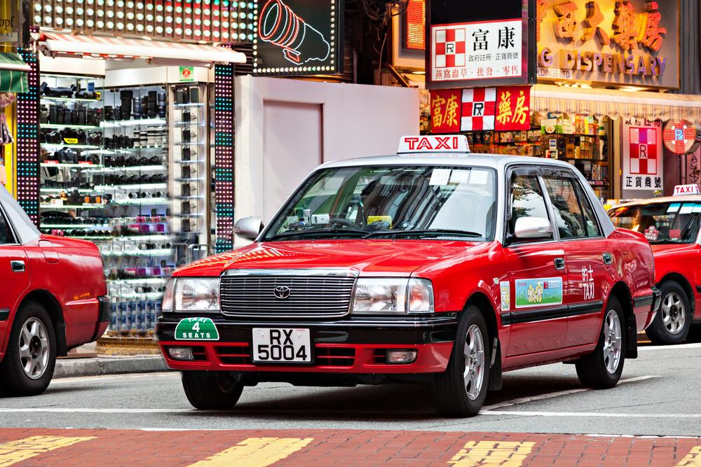 Taxi in Hong Kong.