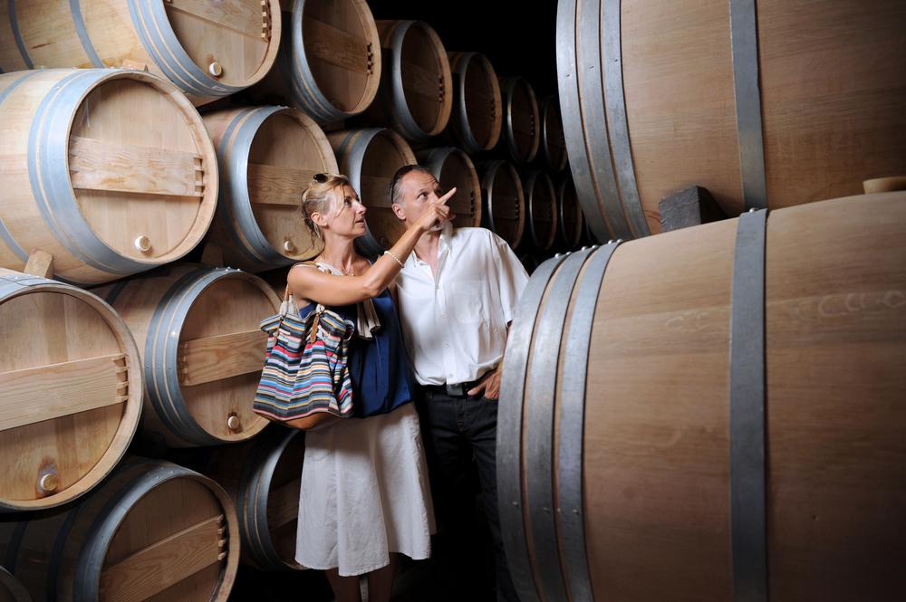 Couple doing a tour around wine cellar