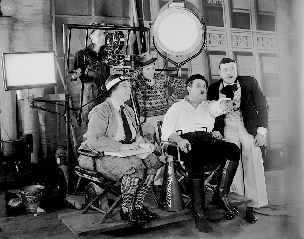vintage view of film crew