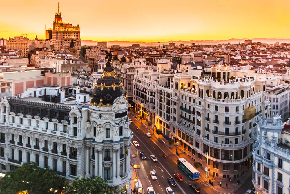 The city of Madrid during sunset
